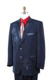 Mens Dark Navy Poly Woven Rhinestone Entertainer Suit