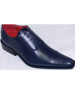 Brand Mens Navy Leather Lace Up Dress Shoes