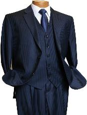 Mens 3 Piece Dark Navy blue Suit For Men Mini Pinstripe ~ Stripe Conservative Italian Design Suit