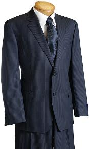 Mens Dark Navy Pinstripe Wool Italian