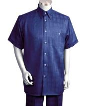 Dark Navy 2 Piece Shiny Short Sleeve Windowpane Casual Two Piece Walking Outfit For Sale Pant Sets