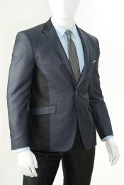 SKU#PN-S12 Men's Navy 2 Piece Slim Cut Sharkskin Suit
