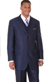 Navy Vested Sharkskin Fashion