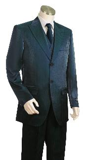 High Fashion Dark Navy Shiny Flashy Sharkskin Peak Lapel Vested 3