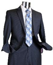 Mens Dark Navy Tone on Tone 100% Wool Suit - Dark Blue
