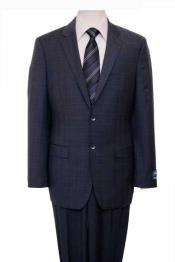 Mens Houndstooth Checkered Pattern Texture Wool Blazer Jacket Suit Dark Navy Windowpane