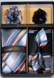Daniel Ellissa Straight Stripes Neck Tie/Bow Tie Set Rainbow