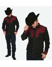 Mens Negro High Collar Long Sleeves Floral Pattern Shirt Cowboy Shirt