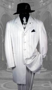 "AEF306 White Shadow Pinstripe Fashion NOTCH COLLAR 38""LONG JACKET Suits"