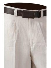 Mens One Pleat Off White 100% Linen Pants