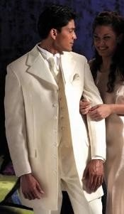 "White~Cream Tuxedo 355"" Length Coat Large Satin Notch Lapels Seven Button"