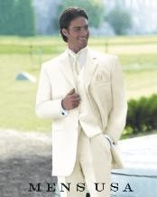 Vittori Collection Cream/Ivory/OFF White 3 Piece 2 Button Men Vested Light Weight
