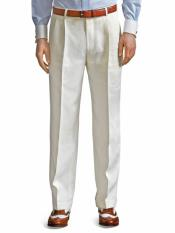 ~ Cream ~ Off White Pleated Dress Pant For Men unhemmed