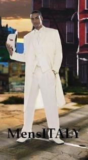 Mens Super Stylish Long Off White/Ivory/Cream Fashion Dress Zoot suit 38