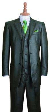 Olive Fashion Suit Edged 3 Button Notch Lapel Jacket w/ Pants Vest Set