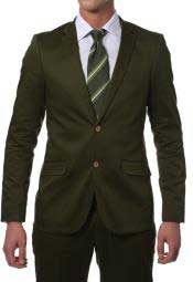 Suit Mens Olive Green Cotton Skinny Fit Cheap Priced Business Suits