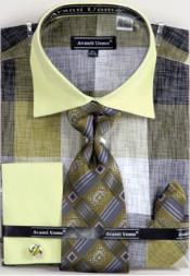 Check Big & Tall French Cuff ~100% Cotton Mens Avanti Uomo Dress Shirt Set Olive
