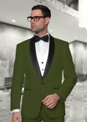 Statement Confidence Mens Modern Fit 3 Piece Shawl Collar Vested Tuxedo Olive Green