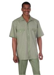 Mens 2 Piece Olive Vacation Summer/Spring Wear Casual Two Piece Walking