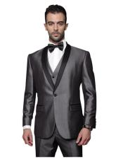Vested 1 Button Shawl Collar Charcoal Grey Sheen Look With Black