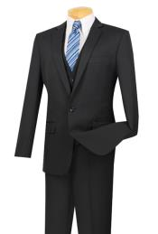 Three Piece One Button Slim Fit Suit Black