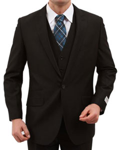 Mens One Button Slim Fit Black Suit