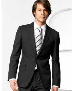 Mens Stylish One Button Black Suit