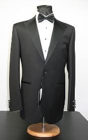 Lapel Flat Front Pants 1-Button Wool Peak Lapel Tuxedo Jacket no