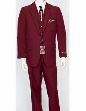 Mens Classic Fit  Burgundy ~ Wine ~ Maroon Suit  3