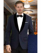 Mens Dark Blue Shawl Lapel 1 Button Closure Tuxedo Suit