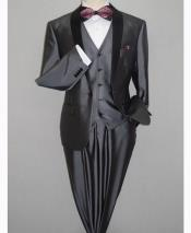 Gray Black Shawl Tuxedo Slim Fitted 3 Piece Two Toned Shiny Sharkskin Suit