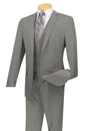 Mens Three Piece One Button Slim Fit Suit Gray
