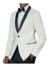Mens One Button Tuxedo Shawl Black Lapel classy Ivory Suit