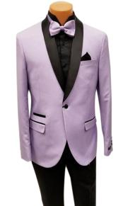 One Button Shawl Lapel Lavender Prom Wedding Tuxedo Jacket & Pants