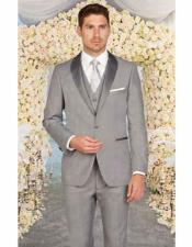 Mens Light Grey Shawl Lapel Slim