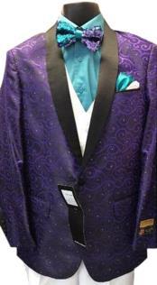 Alberto Nardoni Designer Mens Purple Floral ~ Paisley Sport Coat Blazer Dinner