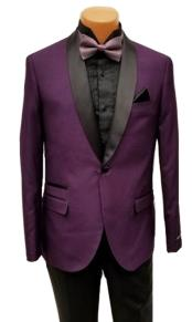 Mens One Button Shawl Lapel Purple Prom Wedding Tuxedo Jacket & Pants