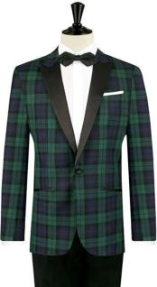 One Button Tartan Designed Slim Fit Tuxedo