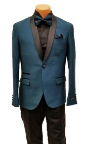 Mens One Button Shawl Lapel Teal Prom Wedding Tuxedo Jacket & Pants