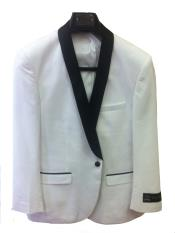 Mens One Button Slim Fit  Jacket White with Black Lapel Fashion