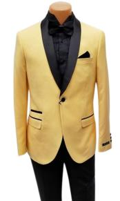 Mens One Button Shawl Lapel Yellow Prom Wedding Tuxedo Jacket & Pants