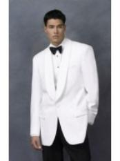 Mens Dinner Jacket in White Shawl Collar 1 Button + Free Bowtie