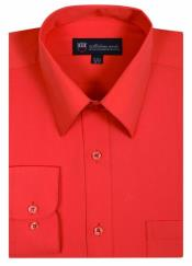 Solid Color Traditional Orange Mens Dress Shirt