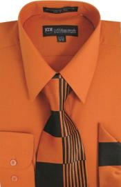 Moda Classic Cotton and Handkerchiefs Orange Mens Dress Shirt