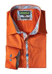 Mens Orange Cotton Shirt