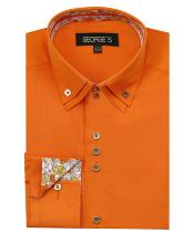 Mens Orange 60% Cotton 40% POLY Shirt Double Collar Design Sleeves Solid