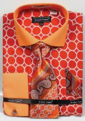 Uomo Printed Pattern French Cuff Orange Mens Dress Shirt