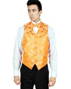Orange P A I S L E Y Vest Bowtie Necktie And Handkerchief Set Also available in