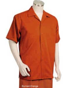 Orange Short Sleeve 2piece Casual Walking Suit