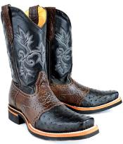 King Exotic Ostrich Full Quill Skin Rodeo Style Boot Black